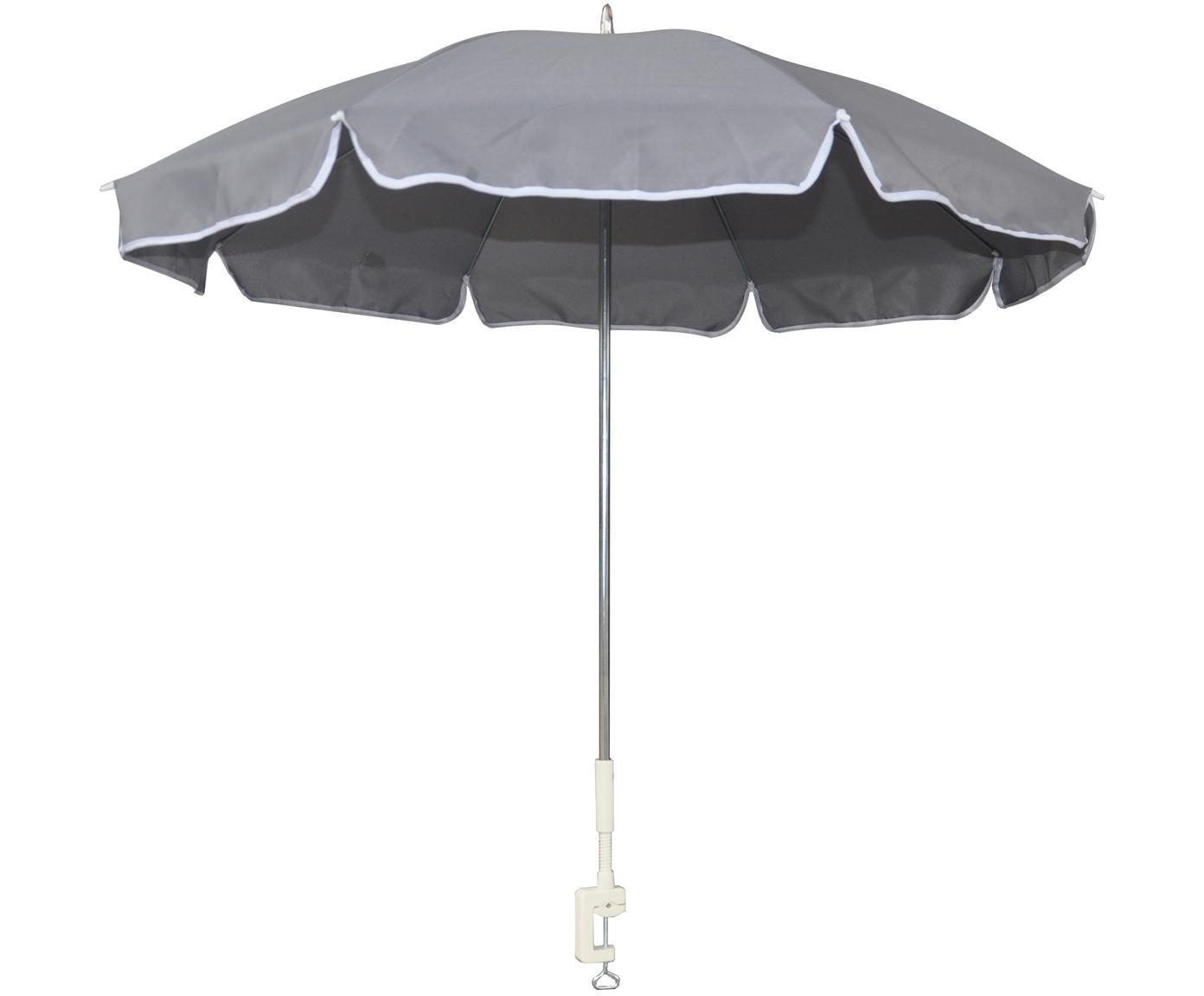 Parasol balkonowy Billy, Aluminium, poliester, Szary, Ø 110 x W 116 cm