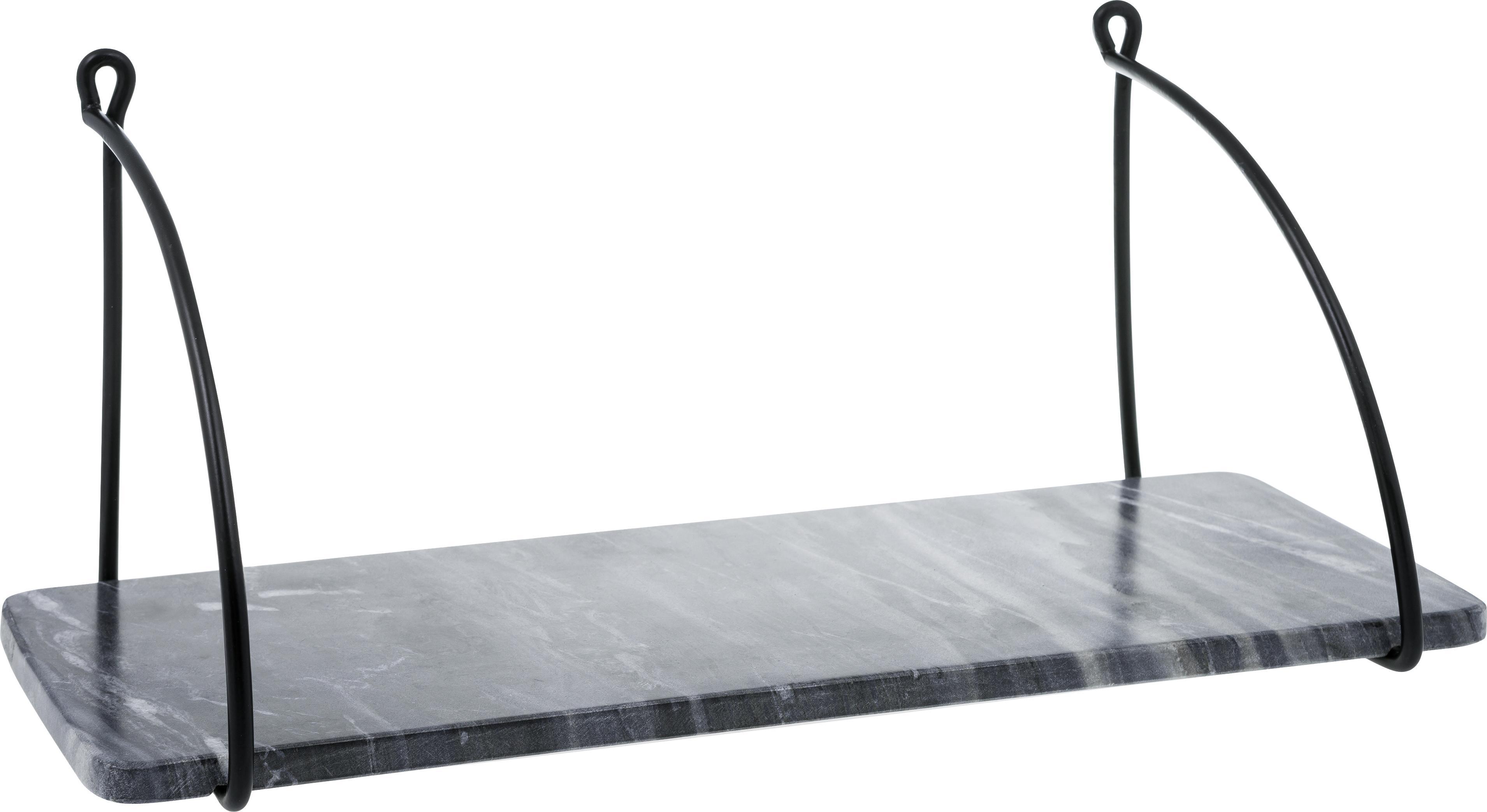 Półka ścienna z marmuru Porter, Mocowanie ścienne: czarny Regał: szary, marmurowy, S 40 x W 18 cm