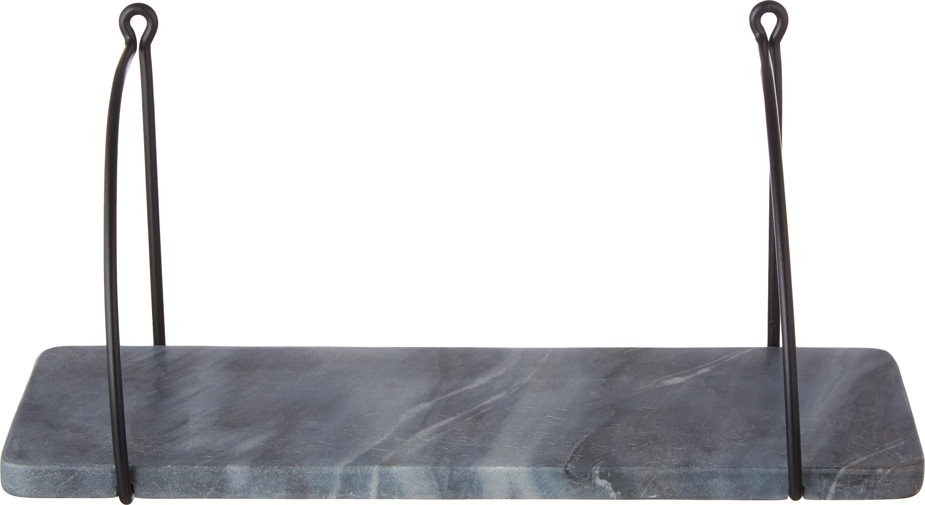 Marmeren wandplank Porter, Plank: marmer, Wandbevestiging: zwart. Plank: gemarmerd grijs, B 40 cm