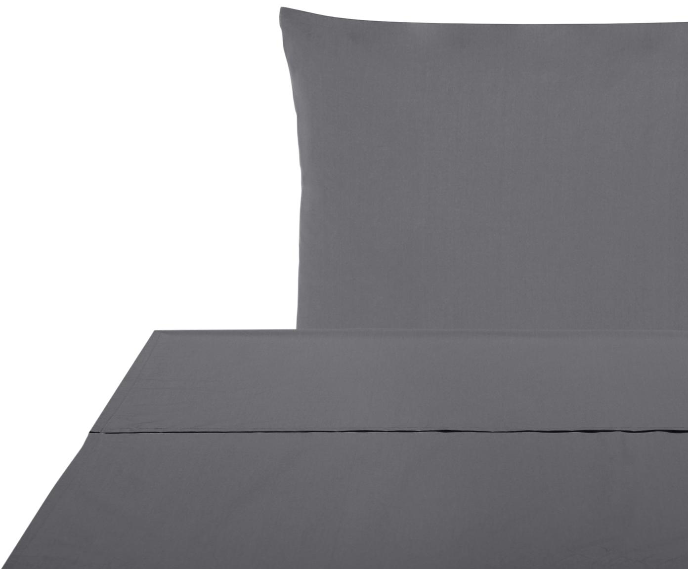 Set lenzuola in percalle Elsie 2 pz, Tessuto: percalle Densità del filo, Grigio scuro, 150 x 300 cm