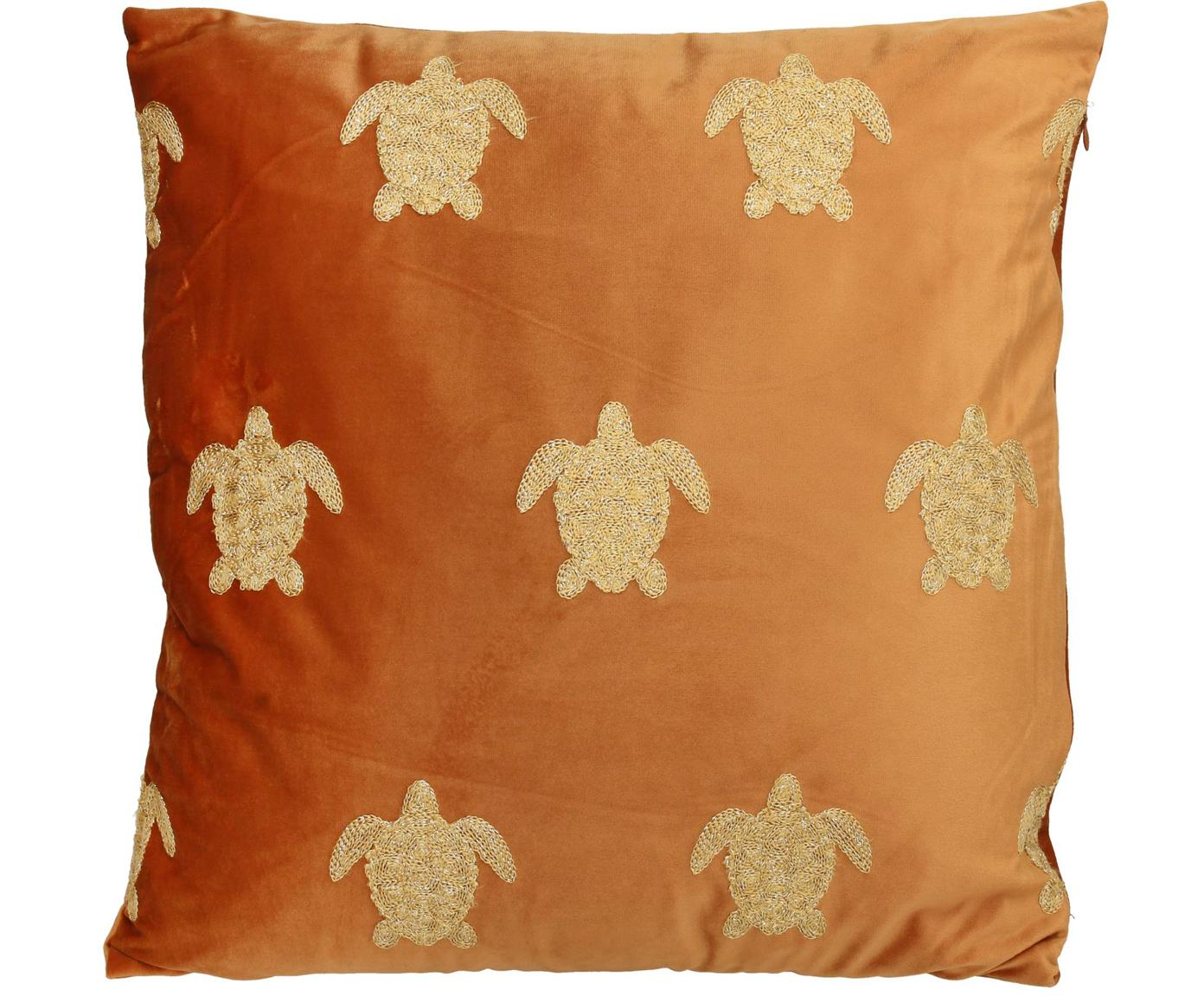 Geborduurd fluwelen kussen Turtle, met vulling, Fluweel, Oranje, goudkleurig, 45 x 45 cm