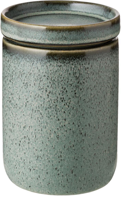 Bote decorativo Mila, Cerámica, esmaltada, Gris verdoso, Ø 10 x Al 11 cm