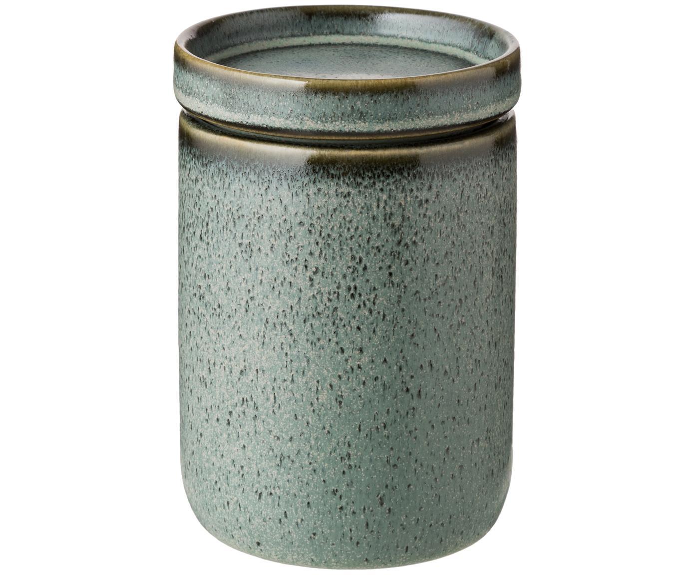 Contenitore con coperchio Mila, Ceramica, smaltata, Verde grigio, Ø 10 x Alt. 11 cm