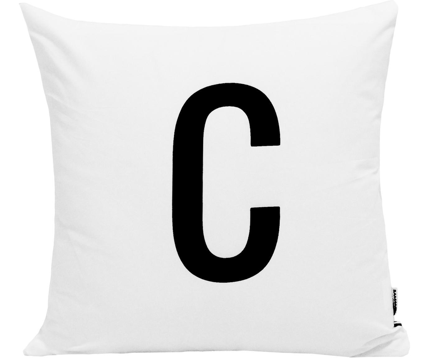 Federa arredo Alphabet (varianti dalla A alla Z), 100% poliestere, Nero, bianco, Federa arredo C