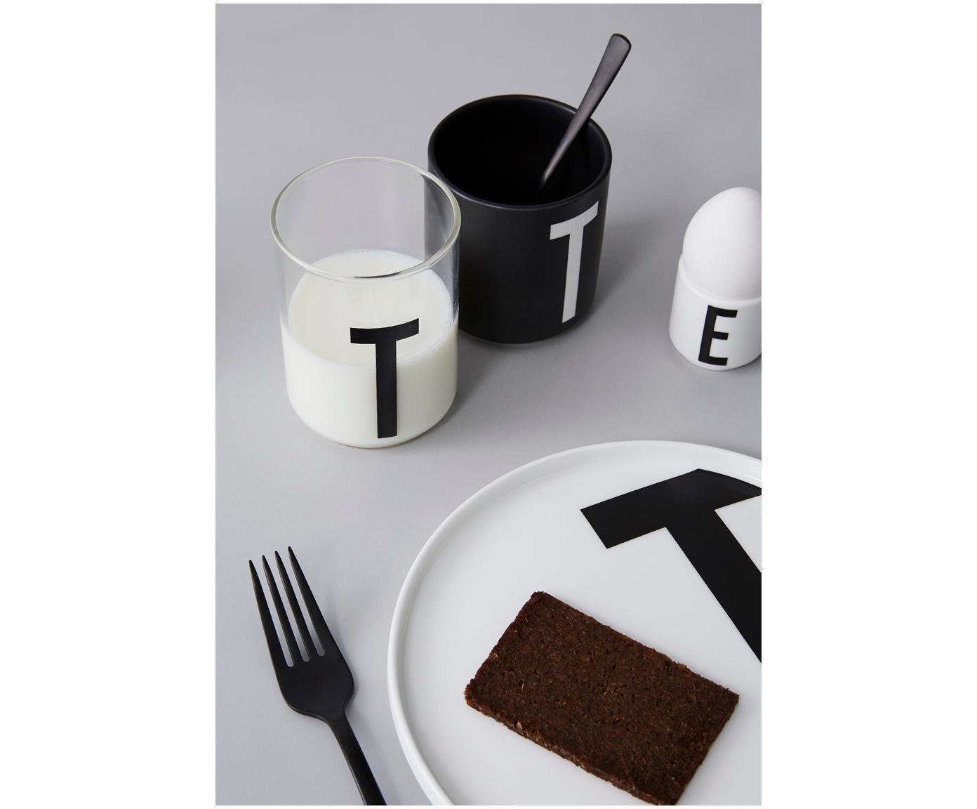 Waterglas Personal met designletters (varianten van A tot Z), Borosilicaatglas, Transparant, zwart, Waterglas A