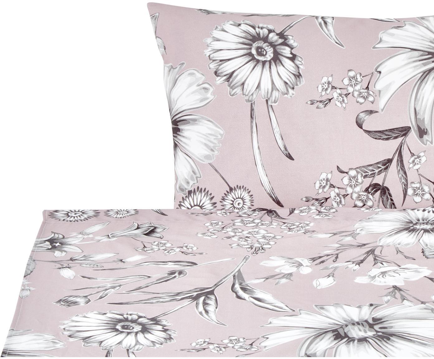 Set lenzuola in cotone Field 2 pz, Cotone, Rosa cipria, grigio, bianco, 160 x 200 cm