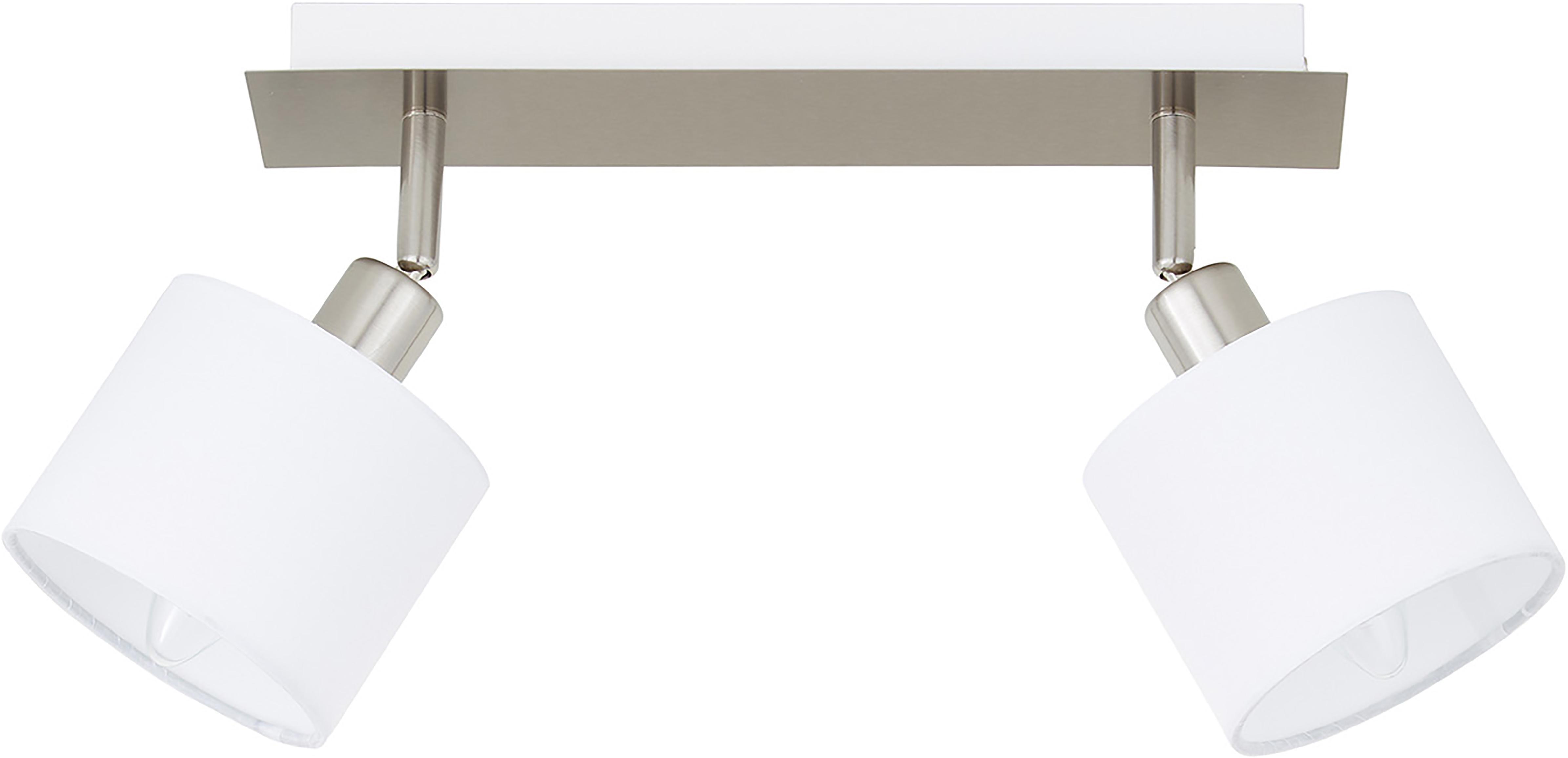 Plafondlamp Casper, Baldakijn: vernikkeld metaal, Zilverkleurig, wit, 32 x 7 cm