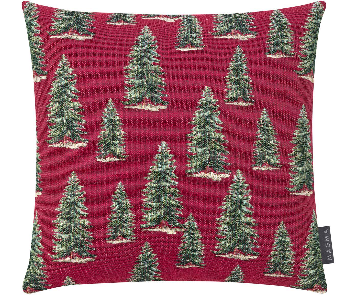 Kussenhoes Pinetree in rood/groen, Weeftechniek: jacquard, Rood, groen, beige, 40 x 40 cm