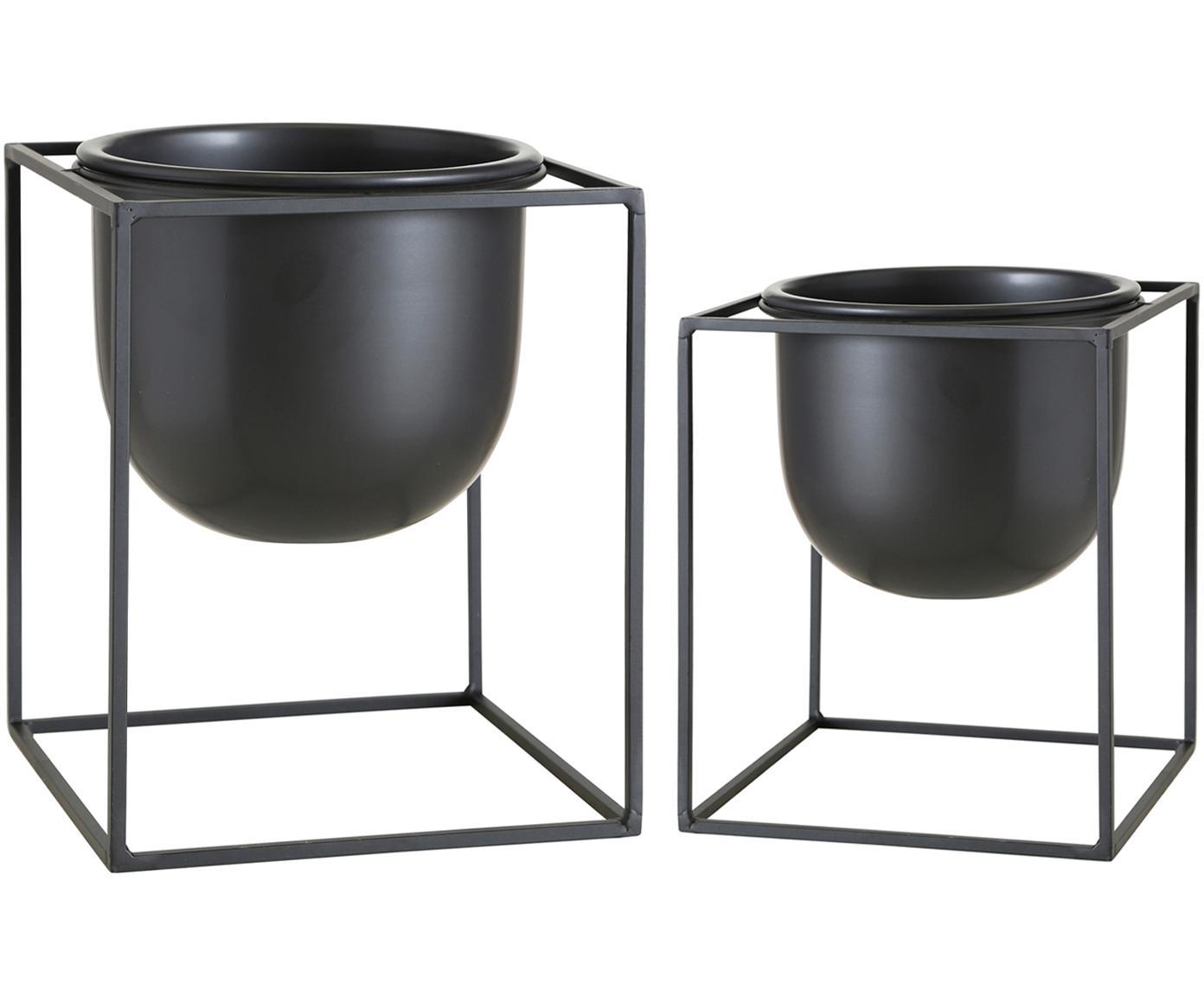 Set 2 portavasi in metallo Kumbo, Metallo, Nero, Diverse dimensioni