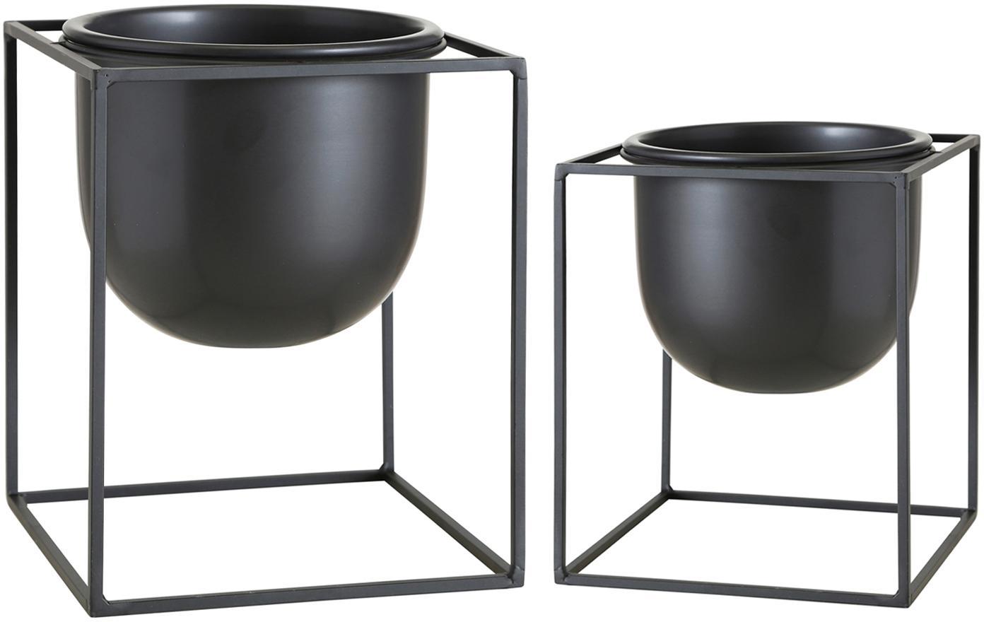 Set de maceteros de metal Kumbo, 2pzas., Metal recubierto, Negro, Set de diferentes tamaños