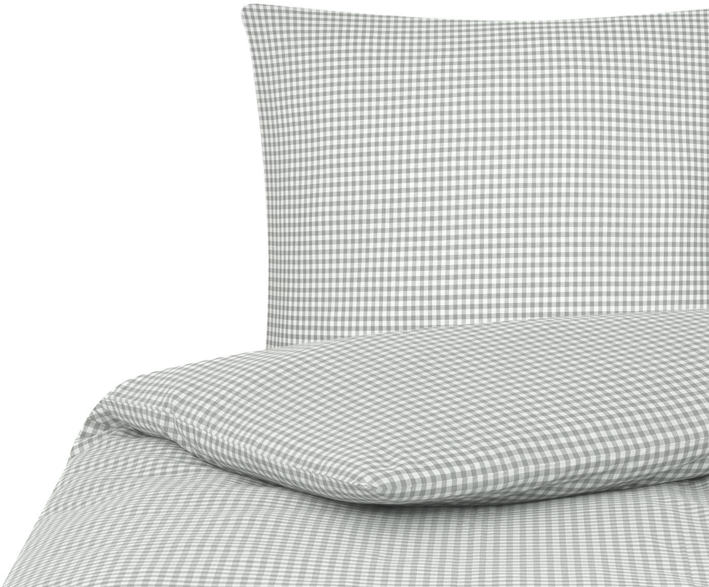 Parure copripiumino in cotone Scotty, Cotone, Grigio chiaro/bianco, 155 x 200 cm