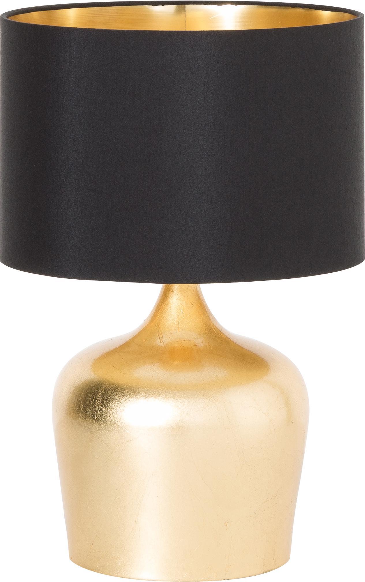 Ethno tafellamp Manalba, Lampenkap: polyester, kunststof, Lampvoet: gelakt staal, Zwart, goudkleurig, Ø 25 x H 38 cm