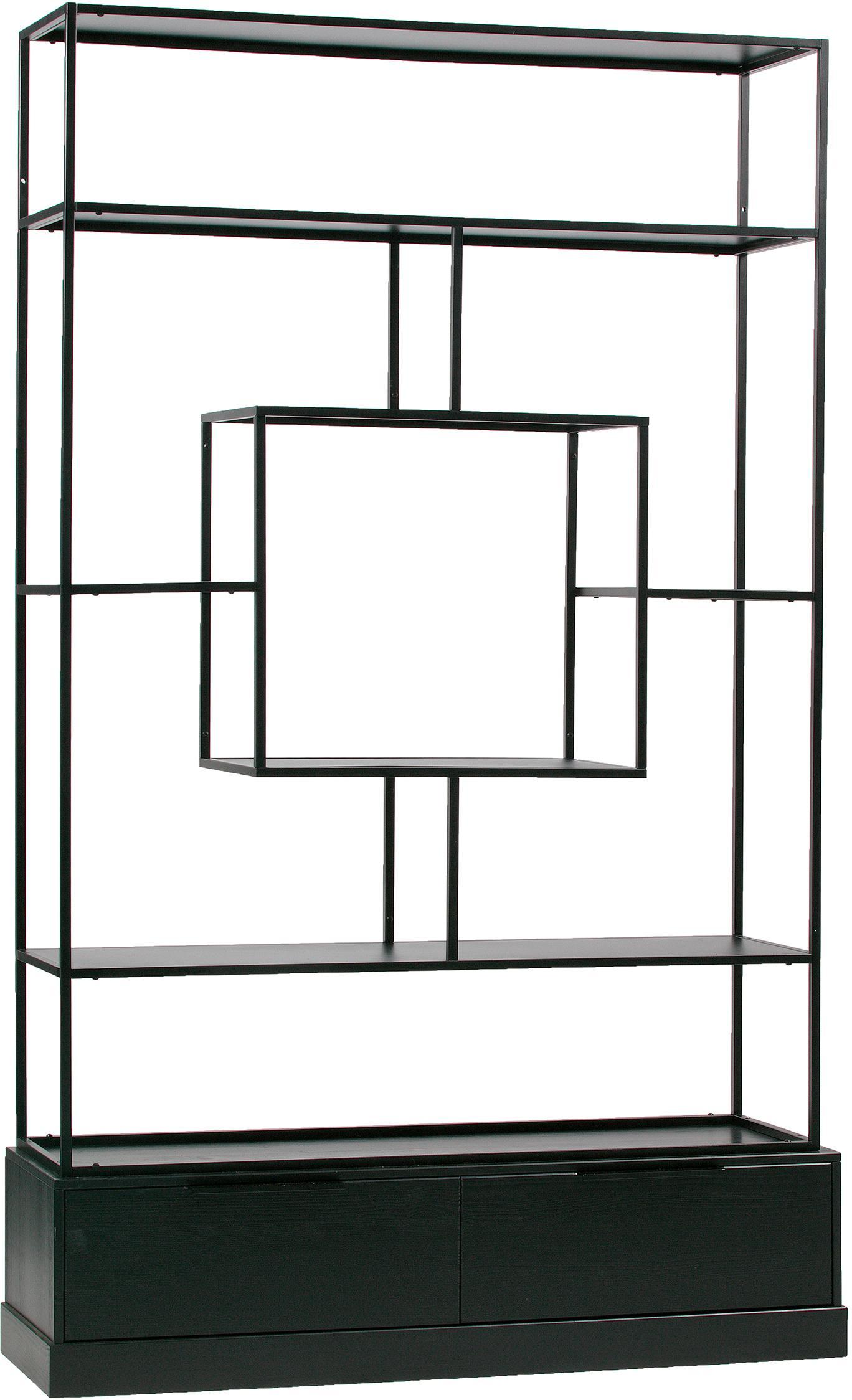 Libreria Fons, Cornice: metallo verniciato, Nero, Larg. 126 x Alt. 204 cm