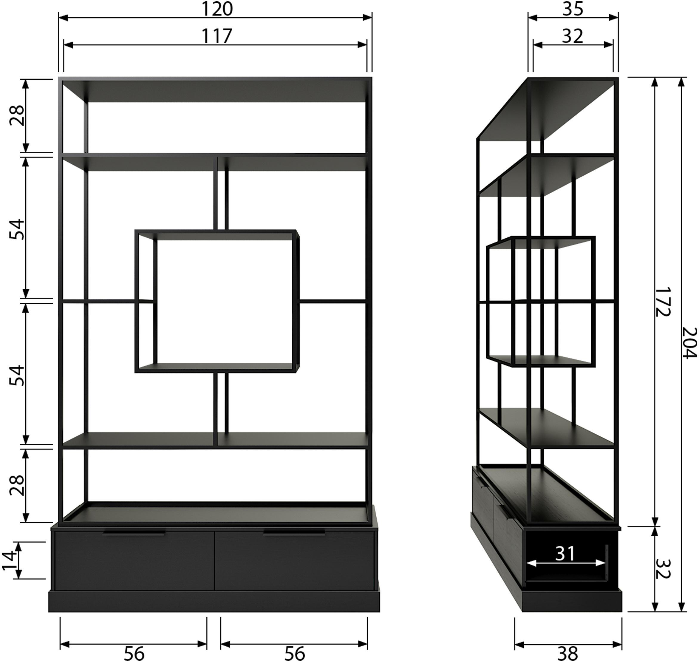 Metall-Standregal Fons, Rahmen: Metall, lackiert, Schwarz, 126 x 204 cm