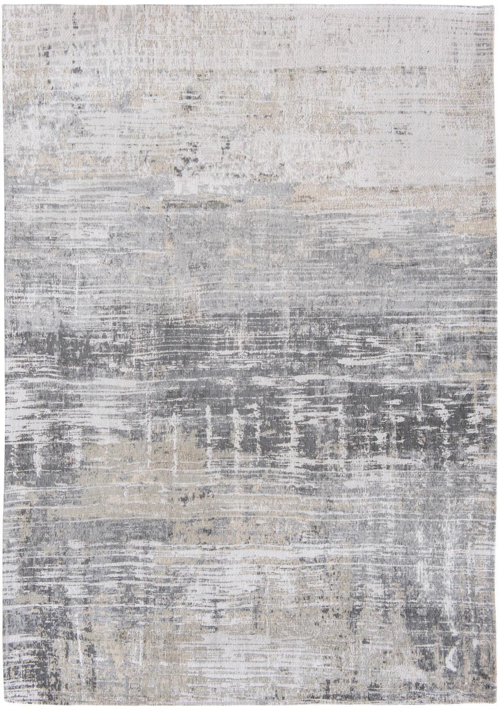 Design vloerkleed Streaks in grijs, Bovenzijde: 85%katoen, 15%hoogglanz, Weeftechniek: jacquard, Onderzijde: katoenmix, gecoat met lat, Grijstinten, 140 x 200 cm
