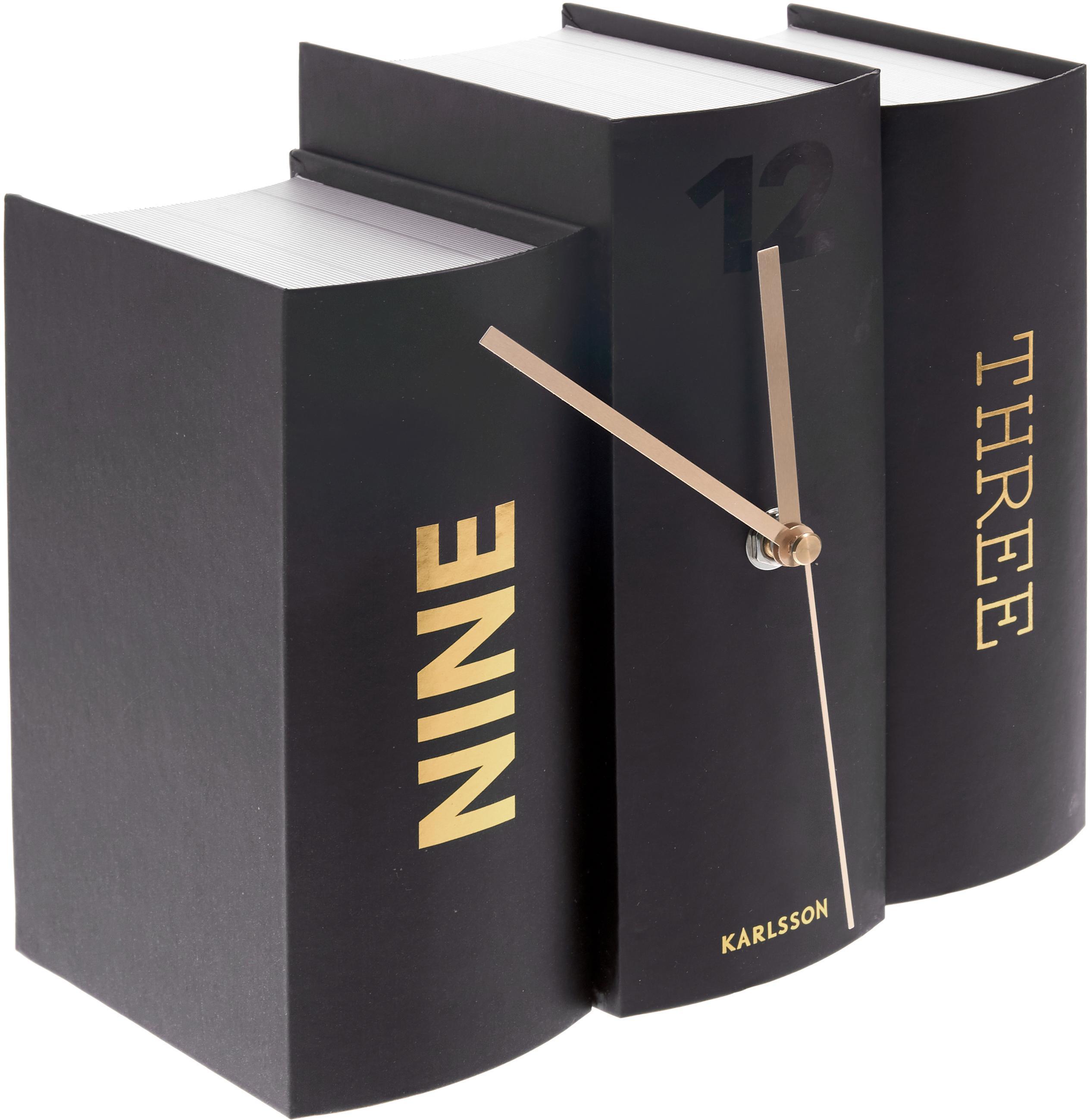 Tafelklok Book, Papier, Zwart, goudkleurig, 20 x 20 cm