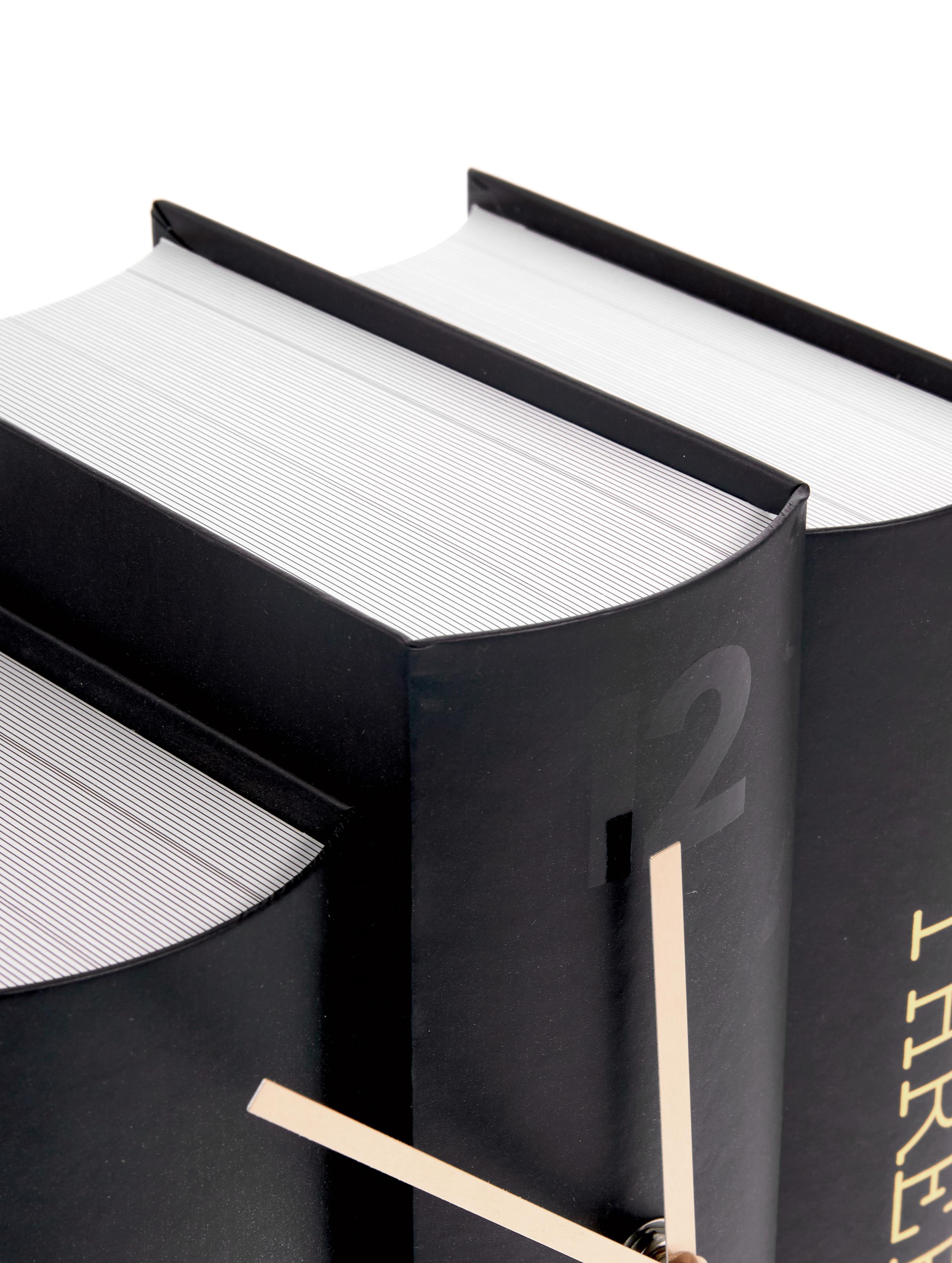 Tischuhr Book, Papier, Schwarz, Goldfarben, 20 x 20 cm