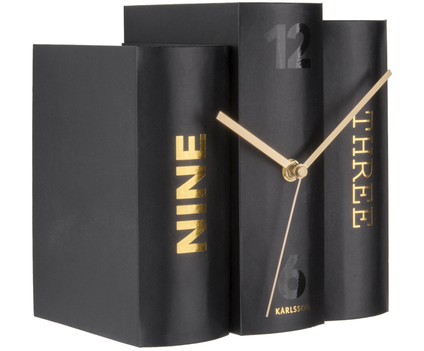 Zegar stołowy Book, Papier, Czarny, odcienie złotego, S 20 x W 20 cm