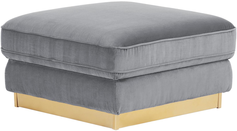 Poggiapiedi da divano in velluto Chelsea, Rivestimento: velluto (rivestimento in , Struttura: legno di abete rosso mass, Struttura: metallo, rivestito, Grigio, Larg. 80 x Alt. 44 cm