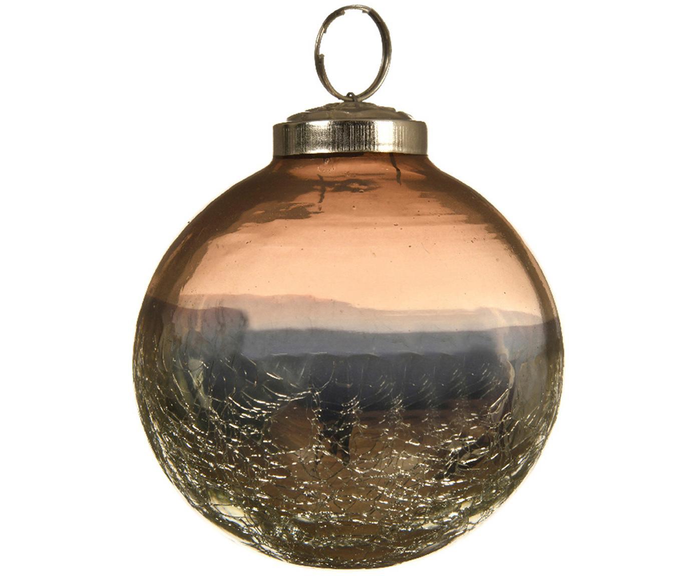 Kerstballen Pixie, 2 stuks, Bruin, blauw, Ø 8 cm