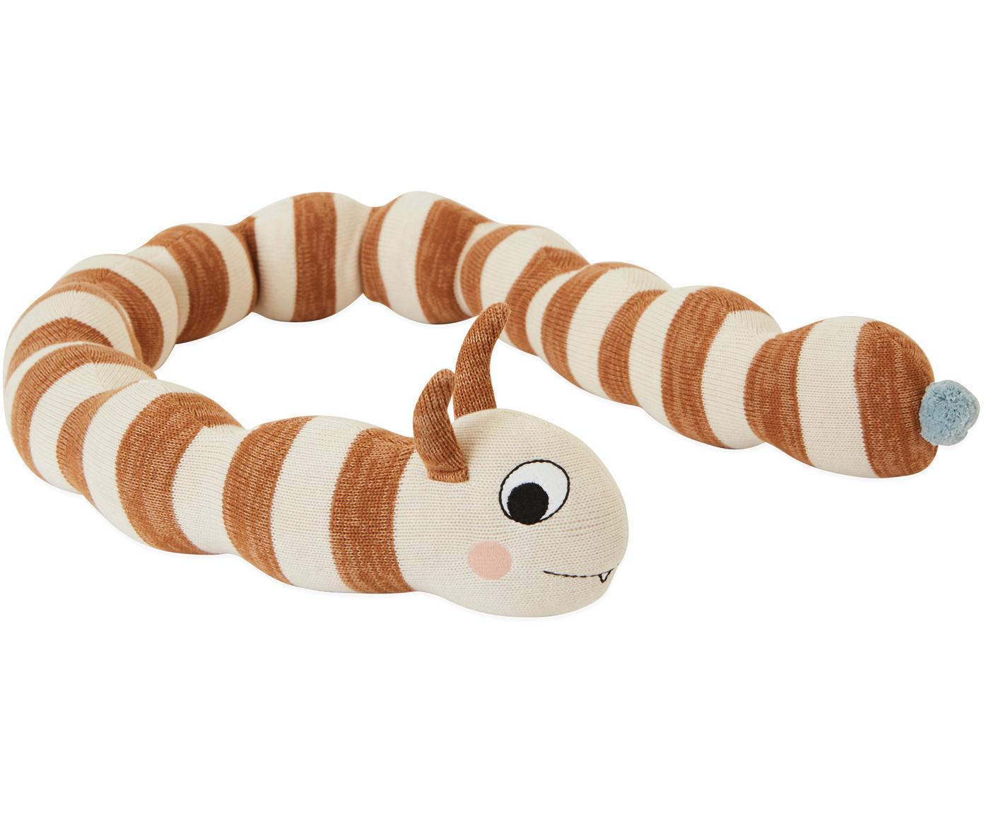 Duża poduszka do przytulania Leo, Bawełna, Karmelowy brązowy, melanżowy, złamana biel, D 140 cm