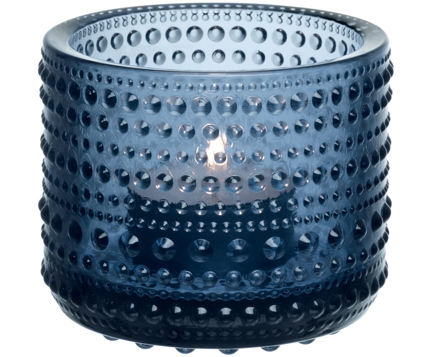 Teelichthalter Kastehelmi, Glas, Regenblau, Ø 8 x H 6 cm