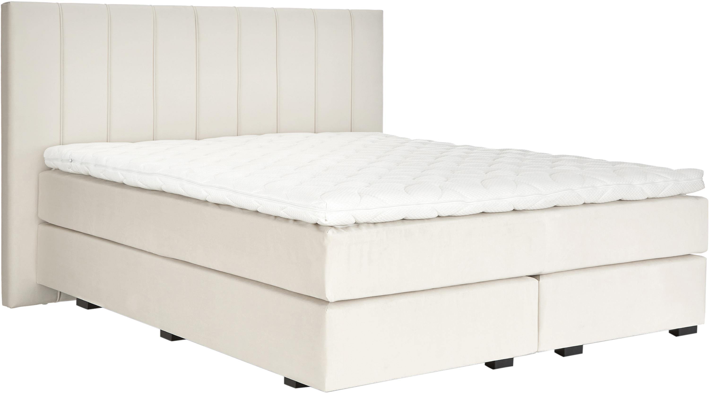 Premium Samt-Boxspringbett Lacey, Matratze: 7-Zonen-Taschenfederkern , Füße: Massives Buchenholz, lack, Beige, 180 x 200 cm