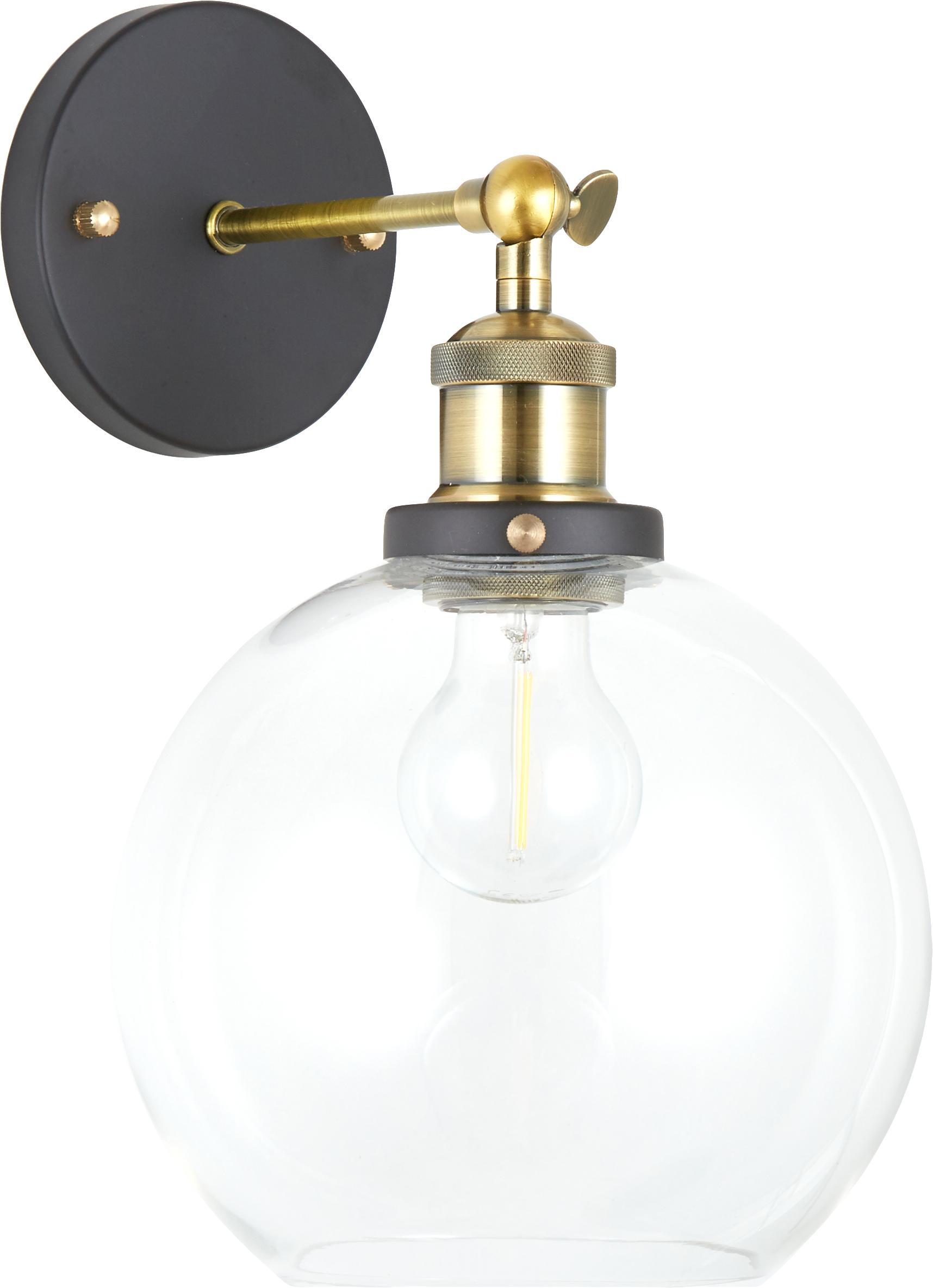 Lampada da parete New York Loft No.2, Baldacchino: metallo verniciato a polv, Paralume: vetro, Nero, ottone trasparente, Larg.  20 x  Alt. 30 cm