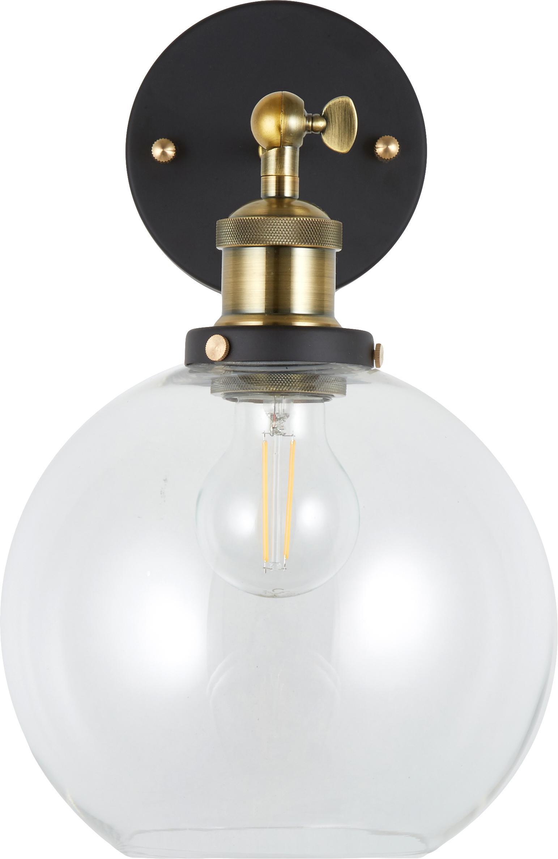 Nástěnné svítidlo New York Loft No.2, Černá, mosazná, transparentní