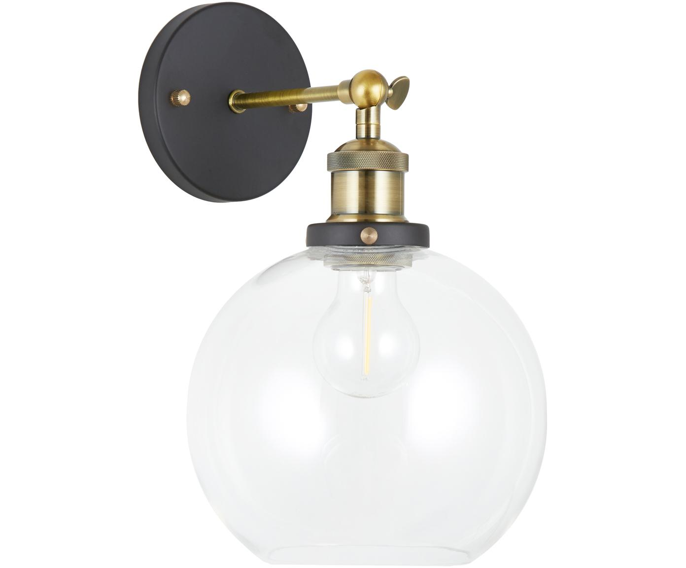 Wandlamp New York Loft No.2, Baldakijn: gepoedercoat metaal, Lampenkap: glas, Zwart, messingkleurig, transparant, 20 x 30 cm