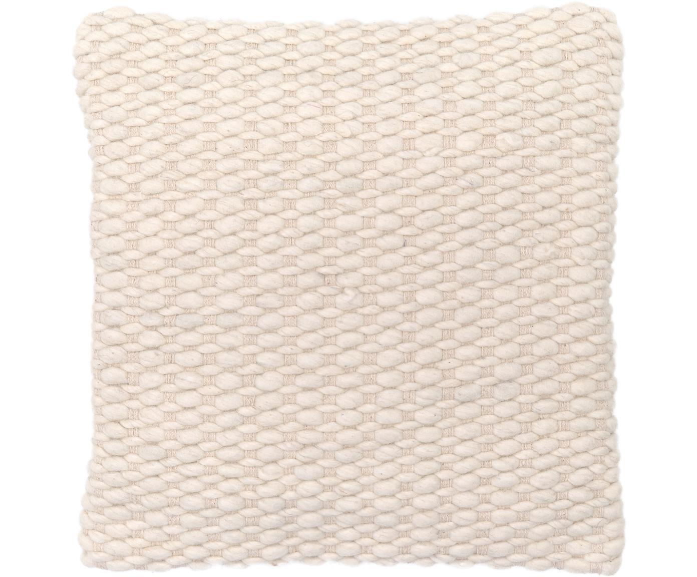 Kissenhülle Patricia aus Woll-Mix mit strukturierter Oberfläche, 50% Wolle, 50% Baumwolle, Cremeweiß, 45 x 45 cm