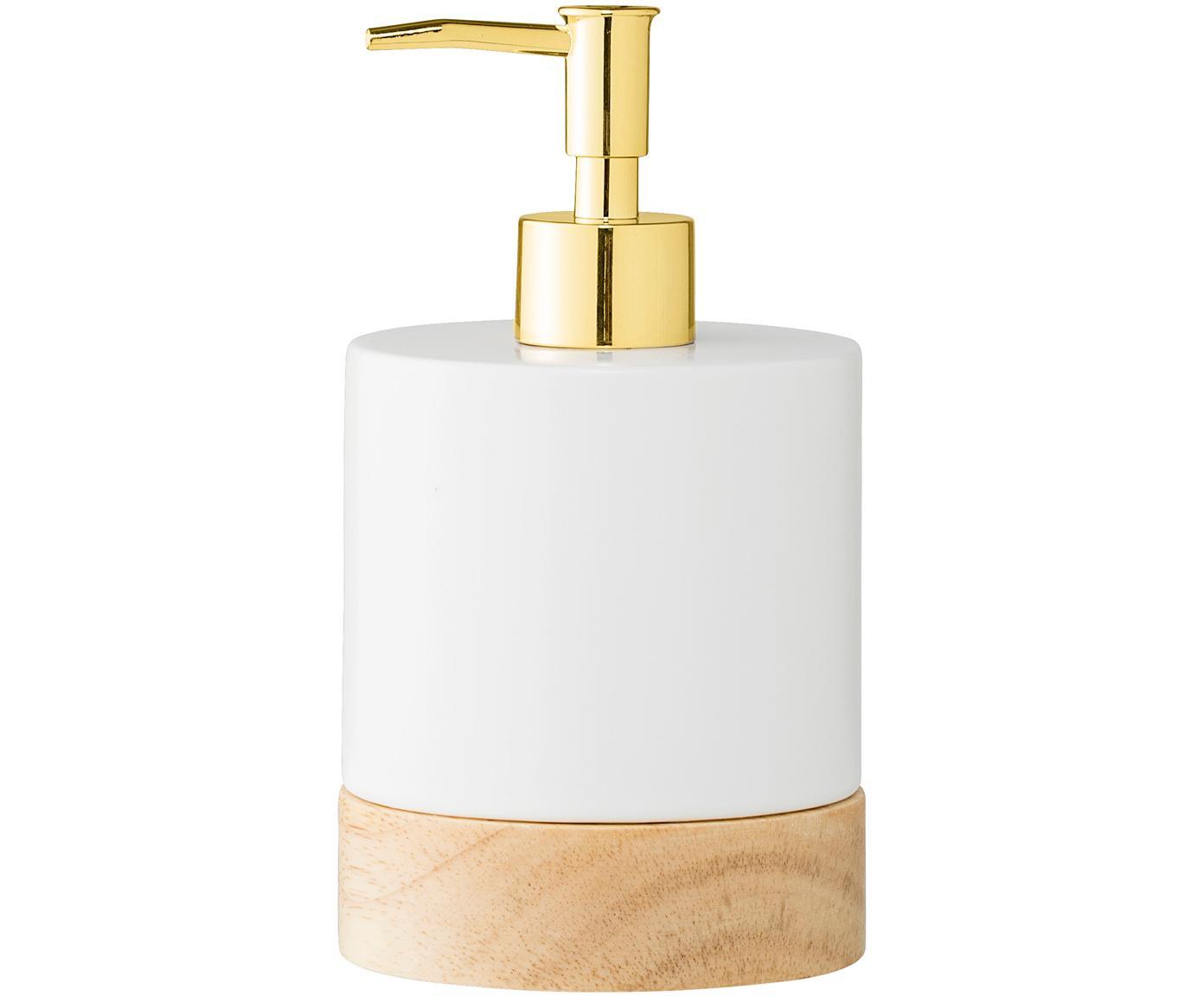Dozownik do mydła Adam, Porcelana, drewno kauczukowe, metal, Szary, biały, odcienie mosiądzu, Ø 10 x W 18 cm
