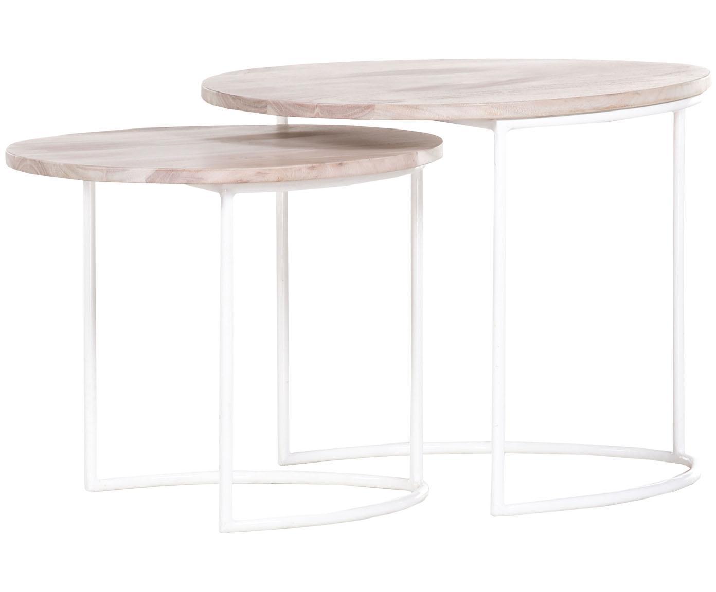 Set 2 tavolini con piano in legno Emma, Ripiani: legno di acacia verniciat, Cornice: metallo verniciato a polv, Legno di acacia, bianco, Diverse dimensioni