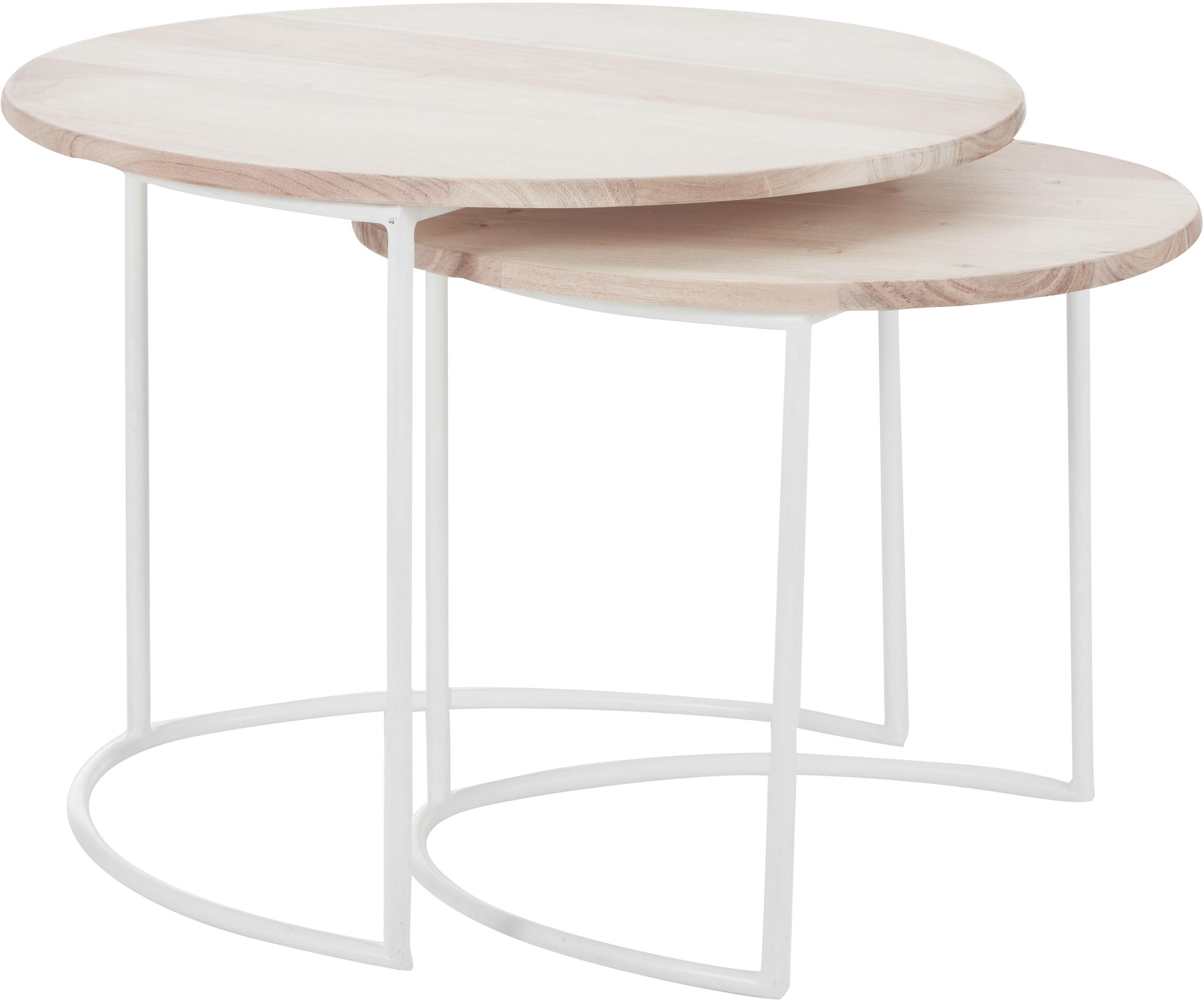 Komplet stolików pomocniczych z drewnianym blatem Emma, 2elem., Blat: drewno akacjowe, barwiony, Nogi: metal malowany proszkowo, Drewno akacjowe, biały, Komplet z różnymi rozmiarami