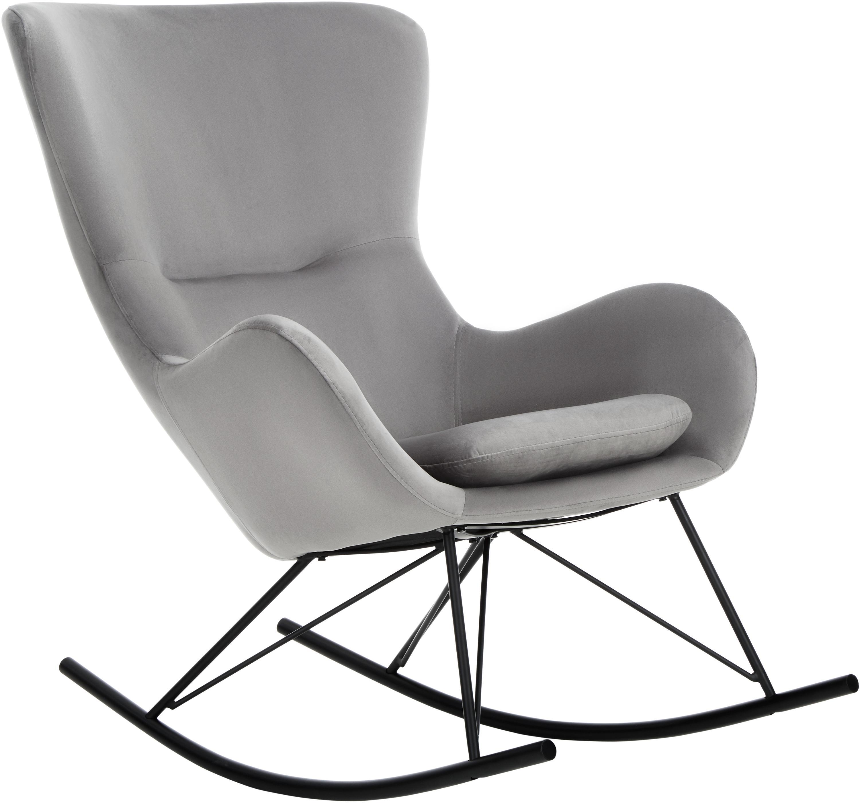 Sedia a dondolo in velluto Wing, Rivestimento: velluto (poliestere) Con , Struttura: metallo verniciato a polv, Velluto grigio, Larg. 66 x Prof. 102 cm
