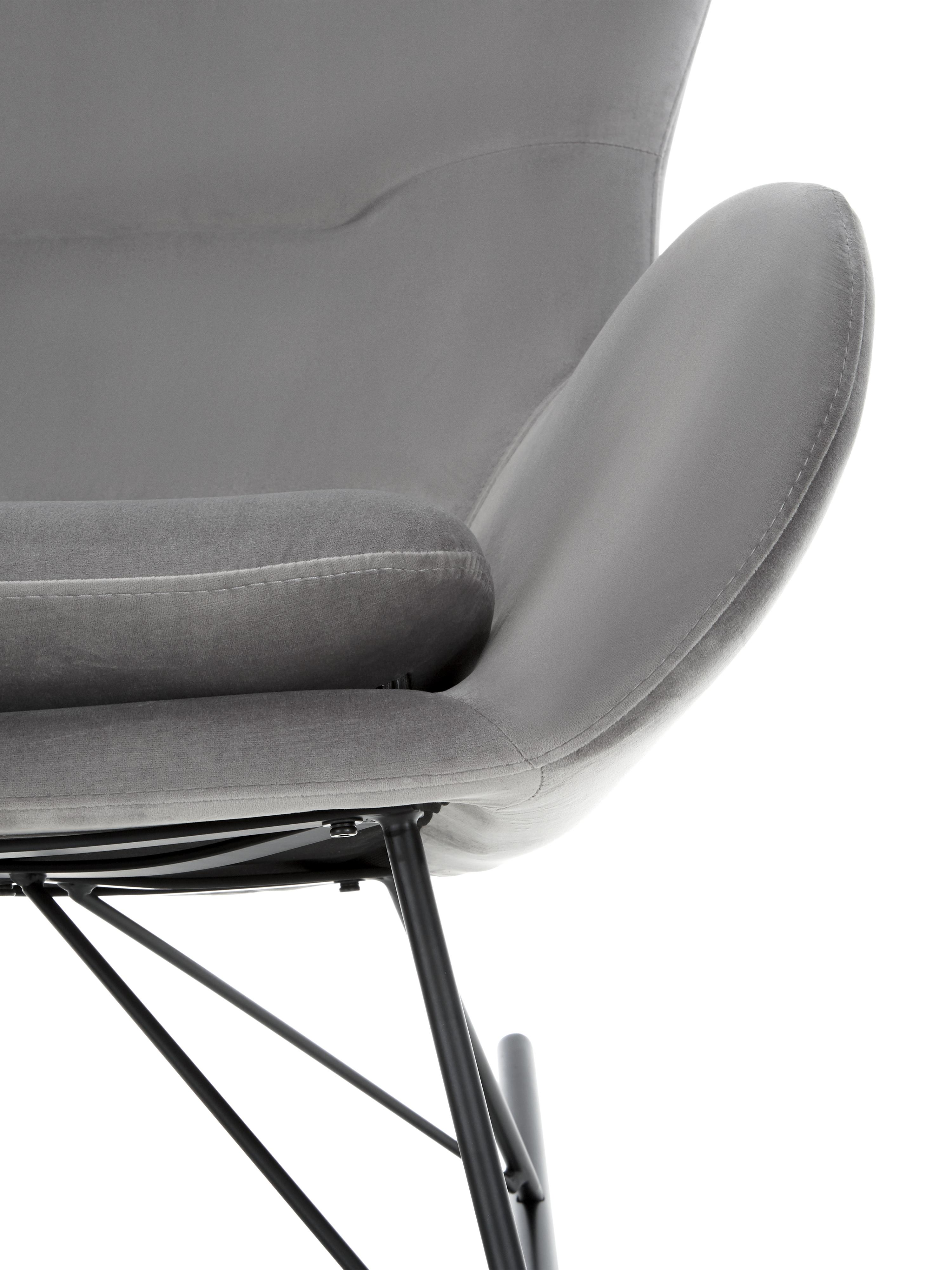 Samt-Schaukelstuhl Wing, Bezug: Samt (Polyester) Der Bezu, Gestell: Metall, pulverbeschichtet, Samt Grau, B 66 x T 102 cm