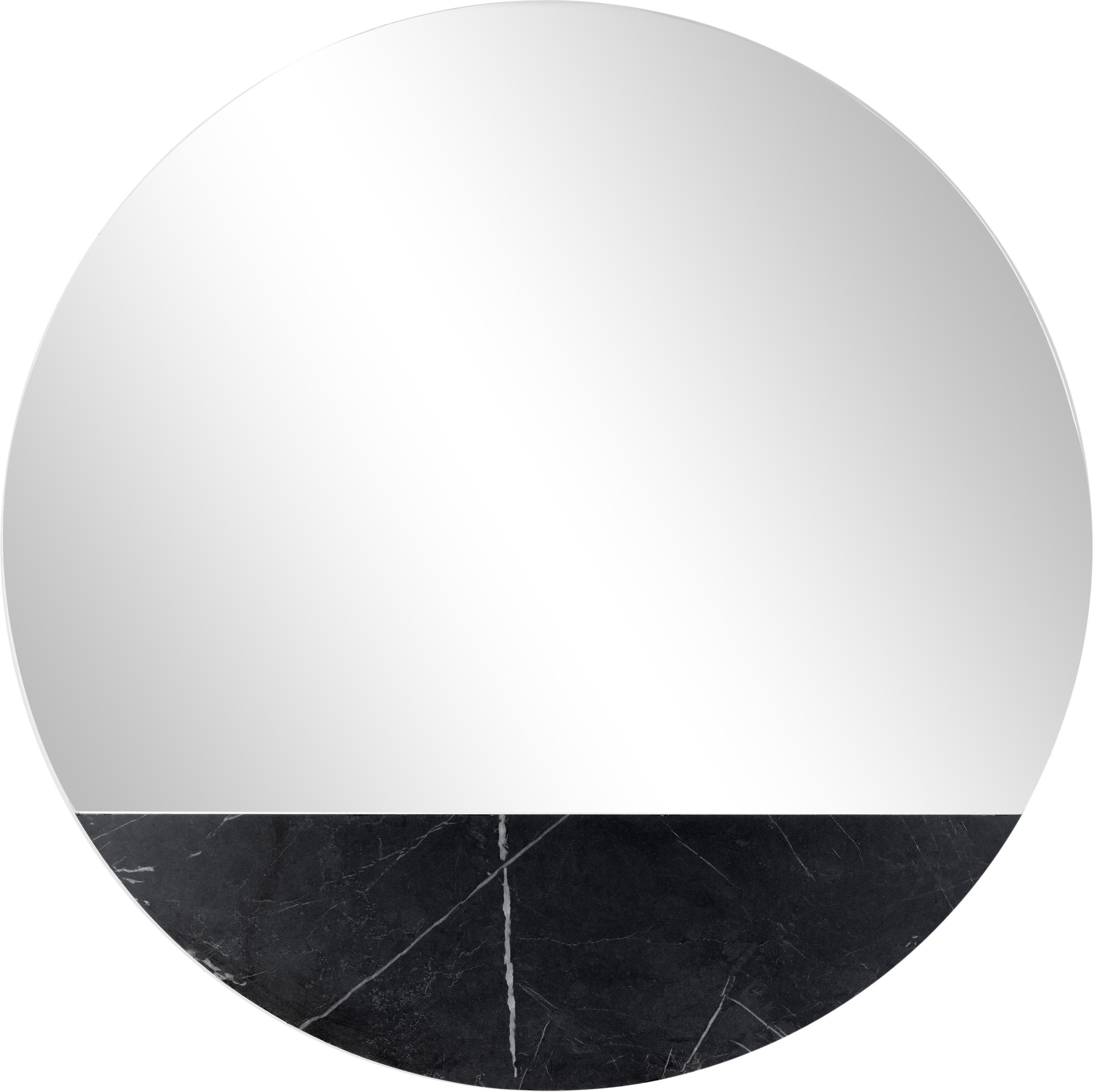 Runder Wandspiegel Stockholm in Marmoroptik, Rahmen: Melamin, Spiegelfläche: Spiegelglas, Rückseite: Mitteldichte Holzfaserpla, Schwarz marmoriert, Ø 60 cm