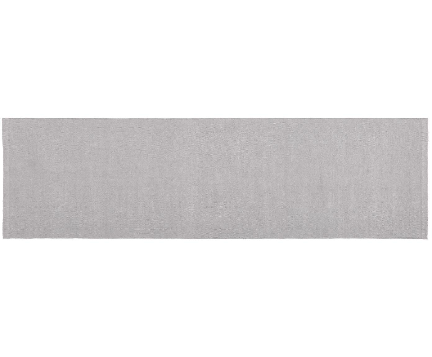Alfombra artesanal de algodón Agneta, Algodón, Gris, An 70 x L 250 cm
