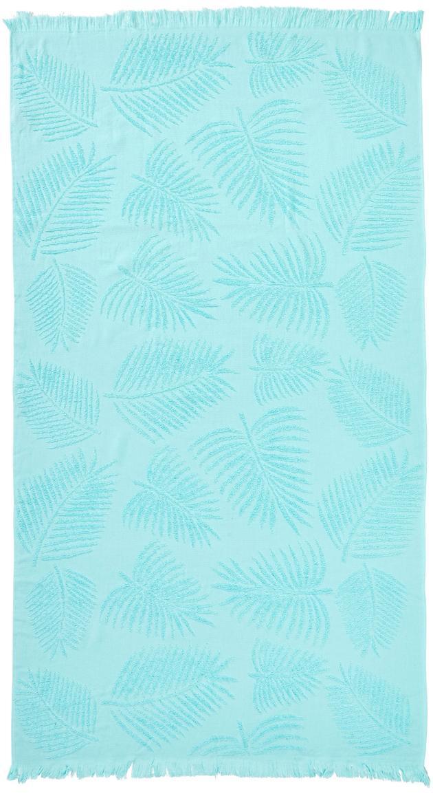Telo mare in cotone Capri Palm Leaves, Turchese, Larg. 90 x Lung. 160 cm
