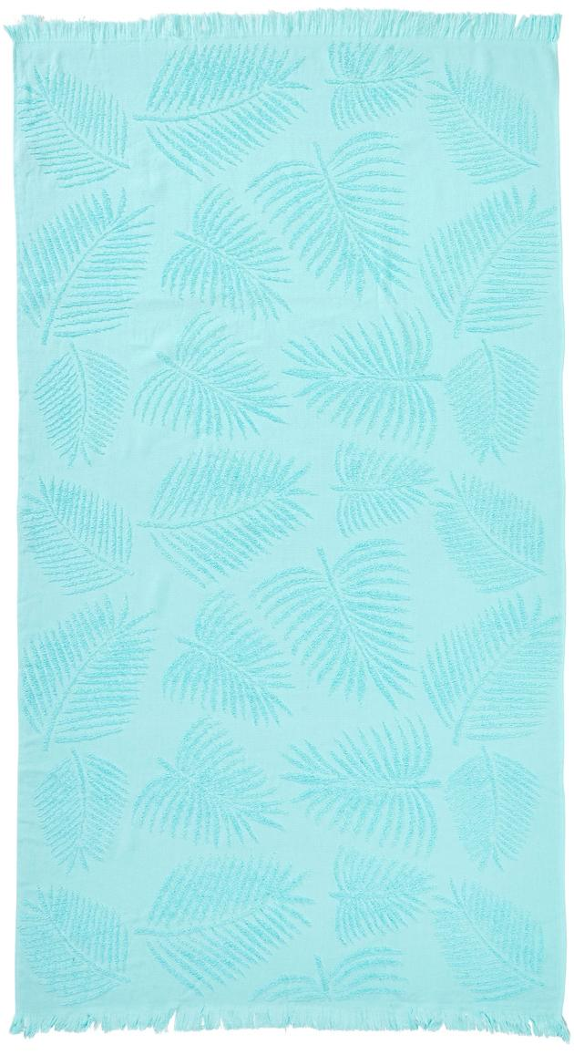 Toalla de playa Capri Palm Leaves, Turquesa, An 90 x L 160 cm