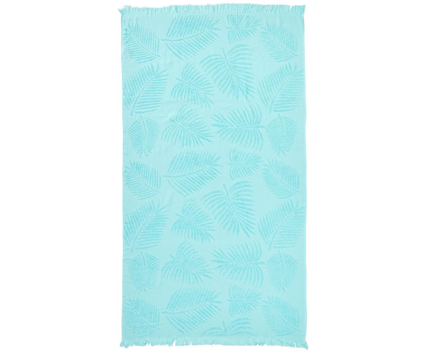 Hamamdoek Capri Palm Leaves, Katoen, lichte kwaliteit, 300 g/m², Turquoise, 90 x 160 cm