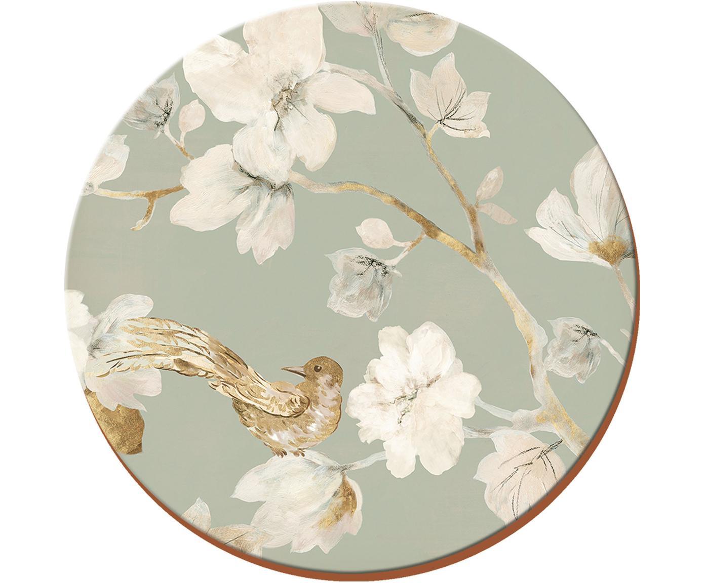 Posavaso Duck Egg Floral, 4uds., Corcho, Gris, blanco, beige, Ø 12 cm