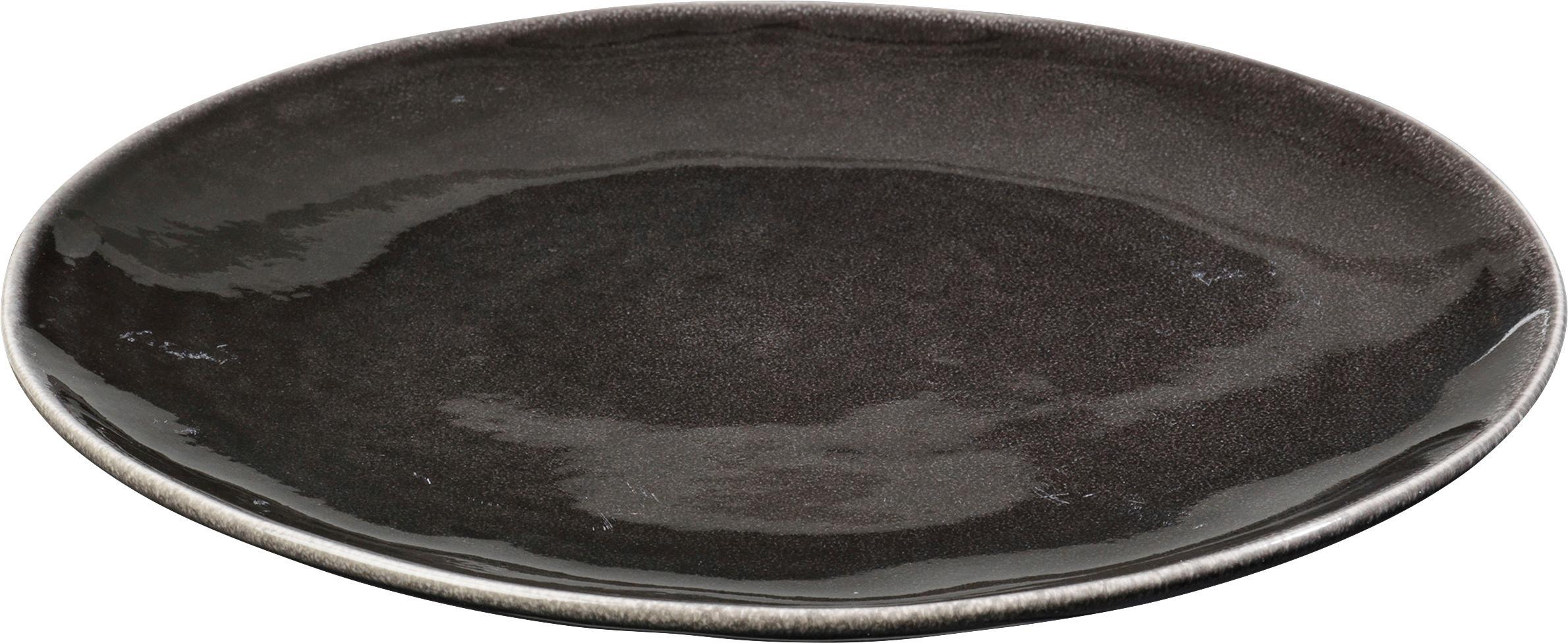 Handgemaakte dinerborden Nordic Coal, 4 stuks, Keramiek, Bruin, Ø 26 cm