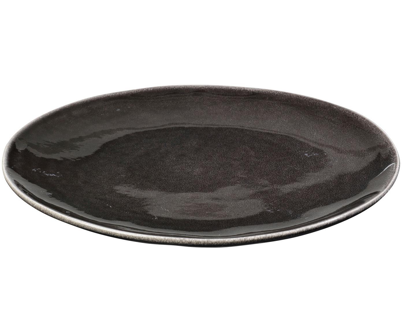 Handgemachte Speiseteller Nordic Coal, 4 Stück, Steingut, Bräunlich, Ø 26 cm