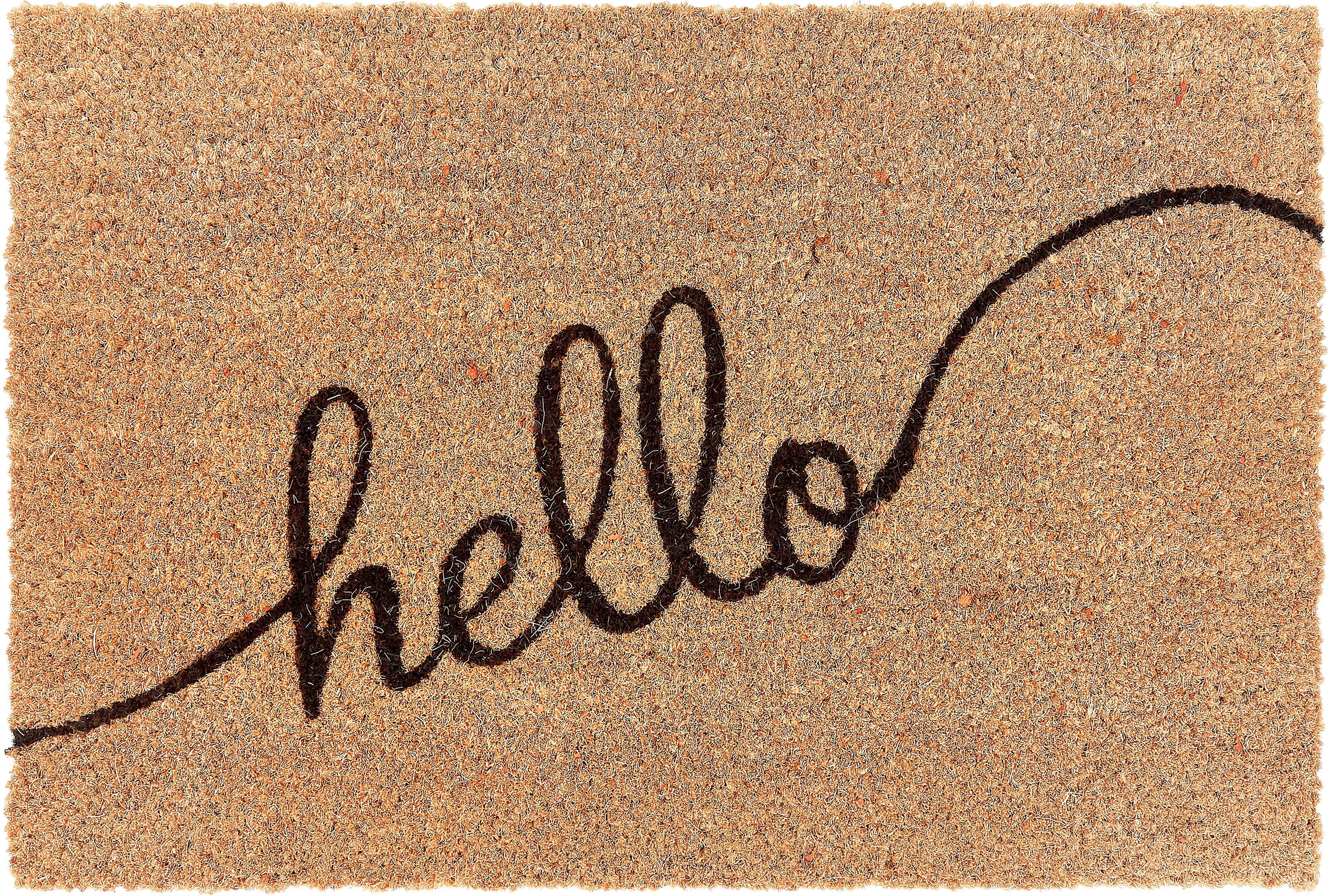 Fußmatte Hello, Oberseite: Kokosfaser, Unterseite: PVC, Braun, Schwarz, 40 x 60 cm
