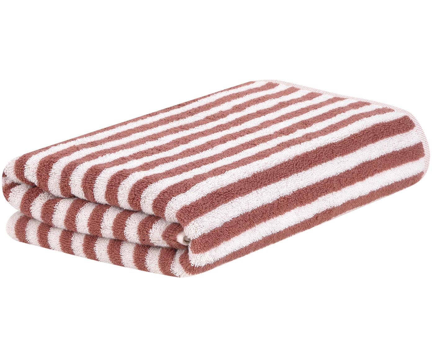 Asciugamano a righe Viola, Terracotta, bianco crema, Asciugamano