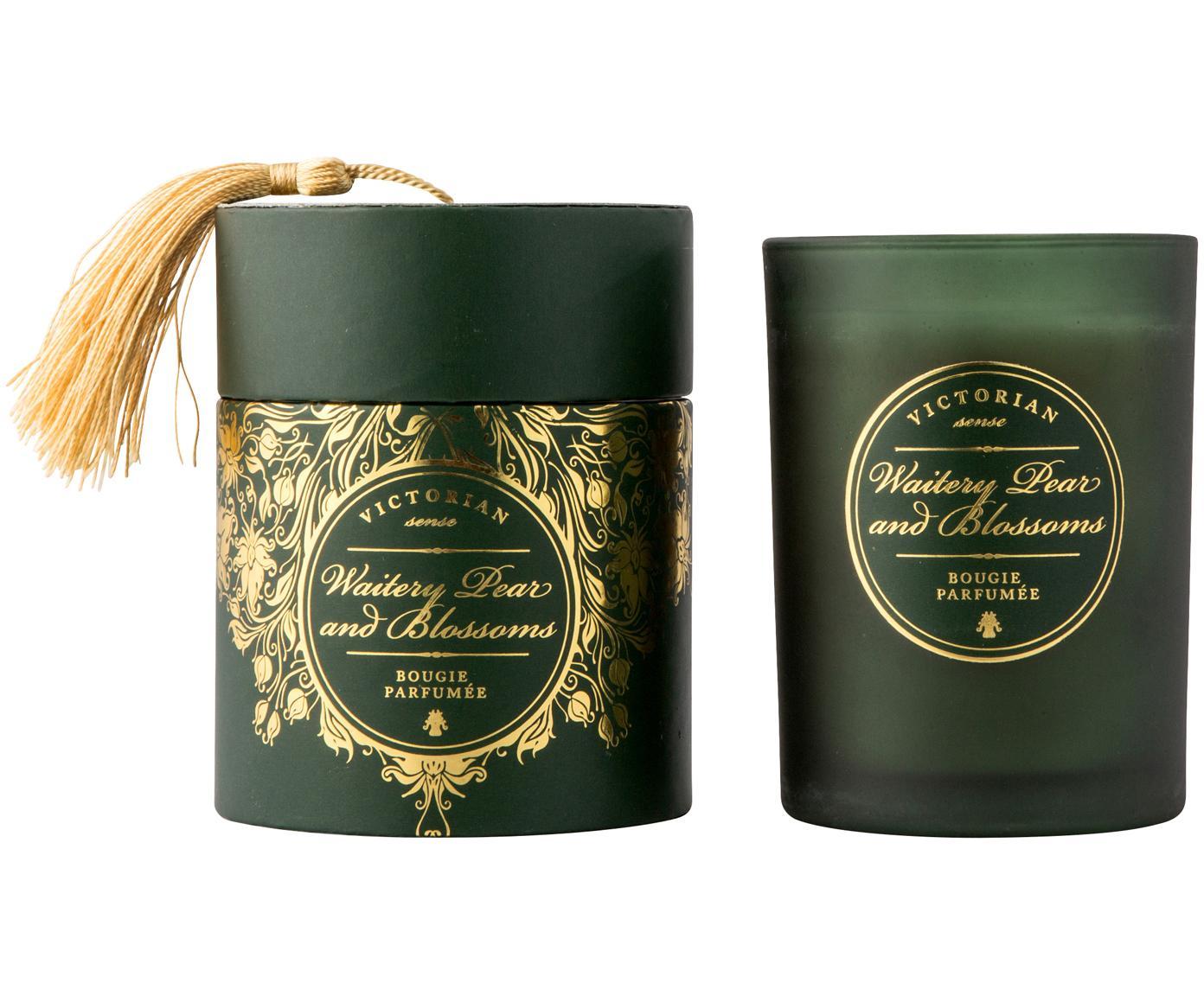 Vela aromática Sense (pera y flores), Recipiente: vidrio, Recipiente: verde Cera: blanco, Ø 9 x Al 11 cm
