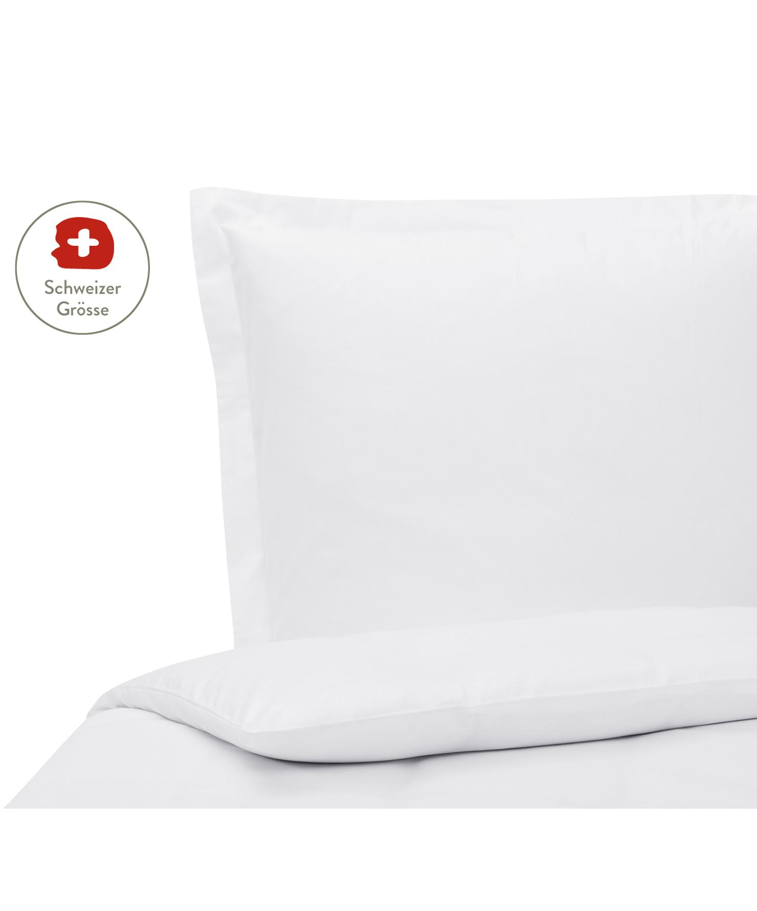 Baumwollsatin-Bettdeckenbezug Premium in Weiss mit Stehsaum, Webart: Satin, leicht glänzend Fa, Weiss, 160 x 210 cm
