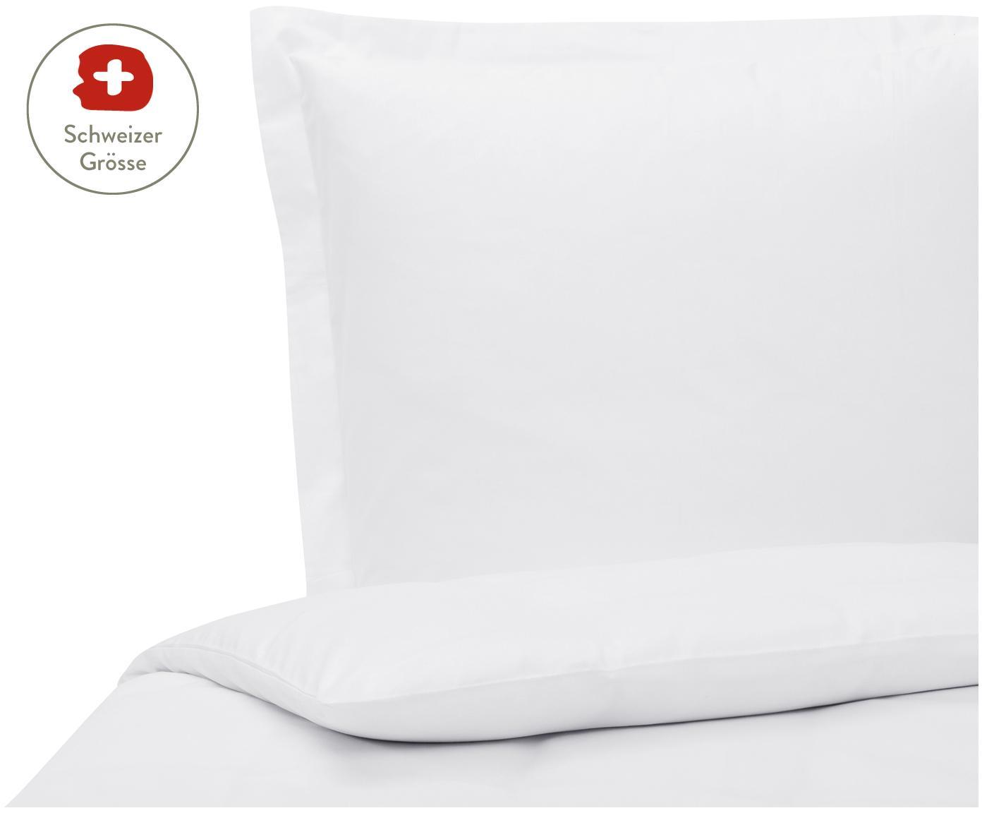 Baumwollsatin-Bettdeckenbezug Premium in Weiss mit Stehsaum, Webart: Satin, leicht glänzend, Weiss, 160 x 210 cm