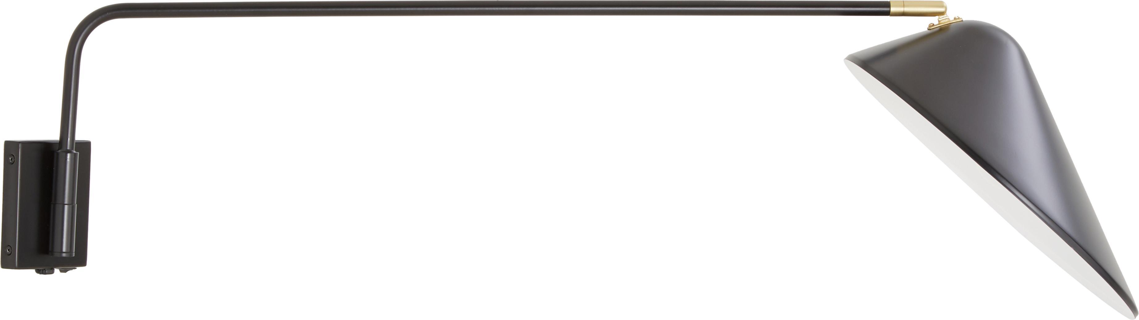 Wandlamp Neron met stekker, Lampenkap: gepoedercoat metaal, Baldakijn: gepoedercoat metaal, Zwart, 27 x 15 cm